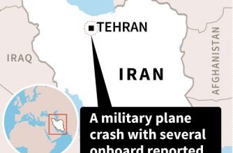 Map locating a military cargo crash near Tehran Monday.