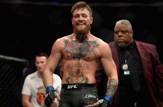 LAS VEGAS, NV - OCTOBER 06: Conor McGregor of Ireland laughs after the first round against Khabib Nurmagomedov of Russia in their UFC lightweight championship bout during the UFC 229 event inside T-Mobile Arena on October 6, 2018 in Las Vegas, Nevada.   Harry How/Getty Images/AFP