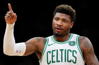 BOSTON, MASSACHUSETTS - JANUARY 02: Marcus Smart #36 of the Boston Celtics celebrates during the first quarter against the Minnesota Timberwolves at TD Garden on January 02, 2019 in Boston, Massachusetts. NOTE TO USER: User expressly acknowledges and agrees that, by downloading and or using this photograph, User is consenting to the terms and conditions of the Getty Images License Agreement.   Maddie Meyer/Getty Images/AFP