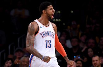 LOS ANGELES, CALIFORNIA - JANUARY 02: Paul George #13 of the Oklahoma City Thunder celebrates his alley oop dunk during a 107-100 win over the Los Angeles Lakers at Staples Center on January 02, 2019 in Los Angeles, California. NOTE TO USER: User expressly acknowledges and agrees that, by downloading and or using this photograph, User is consenting to the terms and conditions of the Getty Images License Agreement.   Harry How/Getty Images/AFP