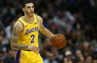 DALLAS, TEXAS - JANUARY 07: Lonzo Ball #2 of the Los Angeles Lakers during a game against the Dallas Mavericks at American Airlines Center on January 07, 2019 in Dallas, Texas. NOTE TO USER: User expressly acknowledges and agrees that, by downloading and or using this photograph, User is consenting to the terms and conditions of the Getty Images License Agreement.   Ronald Martinez/Getty Images/AFP