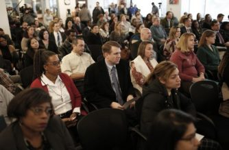 FALLS CHURCH, VIRGINIA - JANUARY 11: After missing their paycheck today, federal workers furloughed due to the partial government shutdown attend a job fair for substitute teacher positions held by the Fairfax County Public School system January 11, 2019 in Falls Church, Virginia. Approximately 800,000 federal workers are currently on furlough as the shutdown threatens to become the longest in U.S. history at midnight this evening.   Win McNamee/Getty Images/AFP
