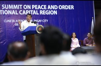 President Rodrigo Roa Duterte delivers his speech during the Barangay Summit on Peace and Order held at the Cuneta Astrodome in Pasay City on January 8, 2019. TOTO LOZANO/PRESIDENTIAL PHOTO