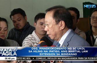 OSG pinagkokomento ng sc ukol sa hiling na ipatigil ang martial law extension sa Mindanao
