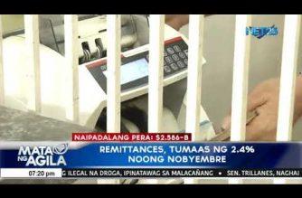 Remittances, tumaas ng 2.4% noong Nobyembre