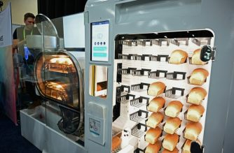 The BreadBot -- a fully automated bread-making machine that mixes, kneads, proofs, bakes and sells bread like a vending machine is displayed at CES Unveiled, the preview event for the 2019 Consumer Electronics Show. (AFP PHOTO)