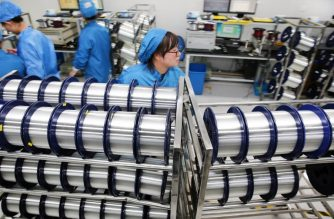 This photo taken on November 27, 2018 shows staff working in a factory that produces fiber optic cable in Nantong, in China's eastern Jiangsu province. - China's factory activity fizzled in November, official data showed on November 30, 2018, in the latest sign that the world's second-largest economy is losing steam in the midst of a US trade war. (Photo by - / AFP) / China OUT