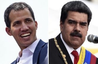 This combination of pictures created on February 4, 2019 shows Venezuelan opposition leader Juan Guaido (L) smiling during a gathering with supporters in Caracas on February 2, 2019 and another of Venezuelan President Nicolas Maduro delivering a speech during the ceremony of recognition by the Bolivarian National Armed Forces (FANB) at the Fuerte Tiuna Military Complex in Caracas on January 10, 2019. - World powers are taking sides in the struggle between the rivals to lead Venezuela, which has ranged some Western nations against Russia, China and others. Inside the country, opposition figurehead Juan Guaido, 35, is vying to lure military commanders to switch their allegiance to him away from President Nicolas Maduro, 56. (Photo by STF / AFP)