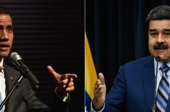 (COMBO) This combination of pictures created on February 11, 2019 shows Venezuela's National Assembly head and self-proclaimed acting president Juan Guaido gesturing while speaking to students at the Metropolitan University in Caracas, on February 11, 2019, and Venezuela's President Nicolas Maduro speaking during a press conference with international media correspondents, at the Miraflores presidential palace in Caracas, on December 12, 2018. - Opposition chief Juan Guaido, now recognized by 50 countries as Venezuela's interim president, will lead a rally on Tuesday as he steps up pressure on beleaguered President Nicolas Maduro and tries to force the military to back down and allow in the aid. (Photos by YURI CORTEZ and Federico Parra / AFP)