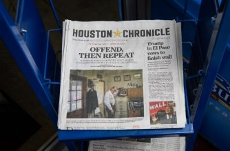 This photo taken on February 12, 2019 shows the front page of the Houston Chronicle featuring a story on accusations of abuse in Southern Baptist churches at a gas station in Houston, Texas. - The United States' largest Protestant denomination, the Southern Baptist Convention, is facing a sexual abuse crisis after a bombshell report revealed hundreds of predators and more than 700 victims since 1998. The report by two Texas newspapers found some 380 church leaders and volunteers have faced public accusations of abuse, mostly of children as young as three years old. (Photo by Loren Elliott / AFP)