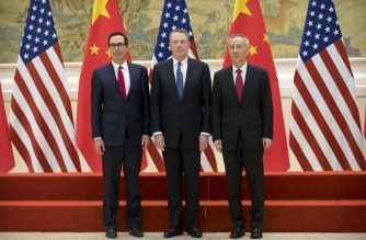 (L-R) US Treasury Secretary Steven Mnuchin, US Trade Representative Robert Lighthizer and Chinese Vice Premier Liu He pose for a group photo at the Diaoyutai State Guesthouse in Beijing on February 15, 2019. (Photo by Mark Schiefelbein / POOL / AFP)