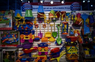 Toys of the company American Plastic Toys Inc are on display during the annual New York Toy Fair, at the Jacob K. Javits Convention Center on February 16 in New York City. (Photo by Johannes EISELE / AFP)