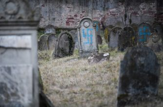 A picture taken on February 19, 2019 shows graves vandalised with swastikas at the Jewish cemetery in Quatzenheim, on the day of a nationwide marches against a rise in anti-Semitic attacks. - Around 80 graves have been vandalised at the Jewish cemetery in the village of Quatzenheim, close to the border with Germany in the Alsace region, which were discovered early February 19, 2019, according to a statement from the regional security office. (Photo by Frederick FLORIN / AFP)