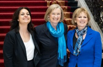 "Former Conservative Party and now Independent MPs (L-R) Heidi Allen, Sarah Wollaston and Anna Soubry pose for a picture after a press conference in central London on February 20, 2019 following their resignation from the Conservative Party in a joint letter. - Three MPs, Anna Soubry, Heidi Allen and Sarah Wollaston, quit Britain's governing Conservatives on Wednesday over Brexit, saying the issue had ""re-defined"" the party and was ""undoing all the efforts to modernise it"". The trio added that they planned to sit in parliament alongside eight former Labour lawmakers who, also citing their opposition to Brexit, resigned from the main opposition party this week to form the new Independent Group. (Photo by Niklas HALLE'N / AFP)"