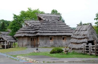 Ainu people's traditional houses, called 'Chise' in Ainu language, are rebuilt and displayed at the Hiratori Ainu Culture Museum on July 11, 2012. Ainu people lived in the Chise from 13th century until early 20th century.    AFP PHOTO / TOSHIFUMI KITAMURA (Photo by TOSHIFUMI KITAMURA / AFP)