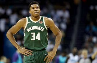 CHARLOTTE, NC - OCTOBER 17: Giannis Antetokounmpo #34 of the Milwaukee Bucks watches on against the Charlotte Hornets during their game at Spectrum Center on October 17, 2018 in Charlotte, North Carolina. NOTE TO USER: User expressly acknowledges and agrees that, by downloading and or using this photograph, User is consenting to the terms and conditions of the Getty Images License Agreement.   Streeter Lecka/Getty Images/AFP