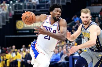 INDIANAPOLIS, IN - JANUARY 17: Joel Embiid #21 of the Philadelphia 76ers dribbles the ball against the Indiana Pacers at Bankers Life Fieldhouse on January 17, 2019 in Indianapolis, Indiana. NOTE TO USER: User expressly acknowledges and agrees that, by downloading and or using this photograph, User is consenting to the terms and conditions of the Getty Images License Agreement.   Andy Lyons/Getty Images/AFP