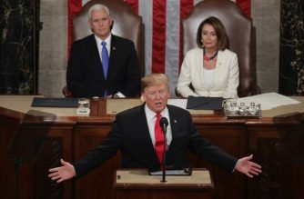 WASHINGTON, DC - FEBRUARY 05: President Donald Trump, with Speaker Nancy Pelosi and Vice President Mike Pence looking on, delivers the State of the Union address in the chamber of the U.S. House of Representatives at the U.S. Capitol Building on February 5, 2019 in Washington, DC. President Trump's second State of the Union address was postponed one week due to the partial government shutdown.   Chip Somodevilla/Getty Images/AFP