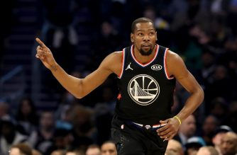 CHARLOTTE, NORTH CAROLINA - FEBRUARY 17: Kevin Durant #35 of the Golden State Warriors and Team LeBron reacts in the second quarter during the NBA All-Star game as part of the 2019 NBA All-Star Weekend at Spectrum Center on February 17, 2019 in Charlotte, North Carolina. NOTE TO USER: User expressly acknowledges and agrees that, by downloading and/or using this photograph, user is consenting to the terms and conditions of the Getty Images License Agreement.   Streeter Lecka/Getty Images/AFP
