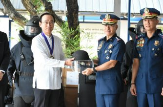 Japanese Ambassador Koji Hameda turns over equipment to the Philippine National Police on Tuesday, Feb. 12./Office of the Chief PNP/