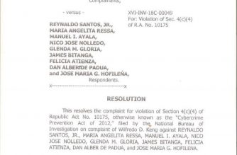 In photos: DOJ resolution that ordered indictment of Rappler Inc., Ressa, Santos for cyber libel
