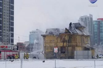 The remains of the historic Enoch Sales house in Calgary's Victoria Park neighbourhood. Photo by JC Yumul, EBC Calgary Bureua, Eagle News Service.