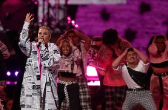 US singer-songwriter Pink performs during the BRIT Awards 2019 ceremony and live show in London on February 20, 2019. (Photo by Daniel LEAL-OLIVAS / AFP) / RESTRICTED TO EDITORIAL USE – NO POSTERS – NO MERCHANDISE– NO USE IN PUBLICATIONS DEVOTED TO ARTISTS