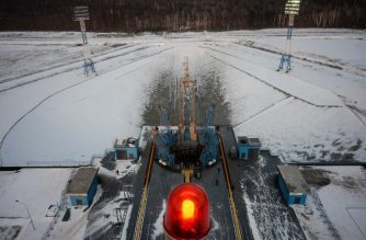 A view of the launch pad after the Soyuz-2.1b rocket carrying Russia's Meteor-M 2-1 weather satellite and other equipment took off at the Vostochny cosmodrome outside the city of Uglegorsk, about 200 kms from the city of Blagoveshchensk in the far eastern Amur region on November 28, 2017. / AFP PHOTO / Kirill KUDRYAVTSEV