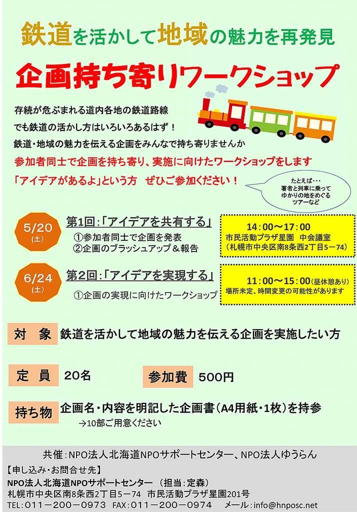 鉄道で地域の魅力を再発見 企画持ち寄りワークショップ 中央区 (6/24) 札幌