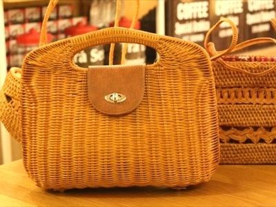たんぽぽ 籐で編んだバッグ