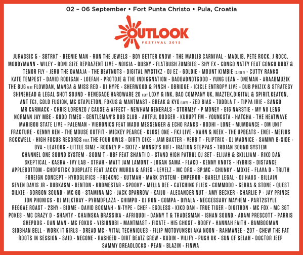 Outlook Festival 2015 complete lineup flyer