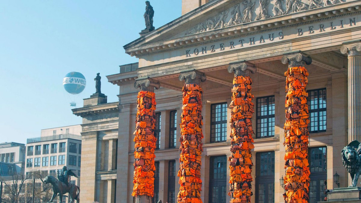 Ai Weiwei Covers Berlin s Concert Hall With 14 000 Refugee Life Jackets Highsnobiety