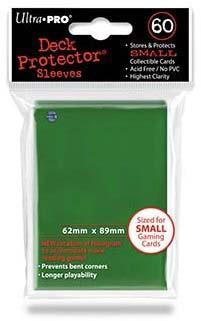 小型カードゲーム用デッキプロテクター・ハードスリーブ ソリッド 89mm×62mm 60枚入り 旧ホロ位置 グリーン