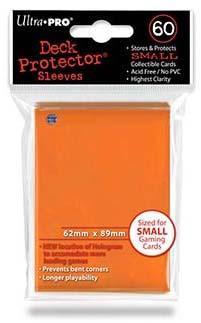 小型カードゲーム用デッキプロテクター・ハードスリーブ ソリッド 89mm×62mm 60枚入り 旧ホロ位置 オレンジ