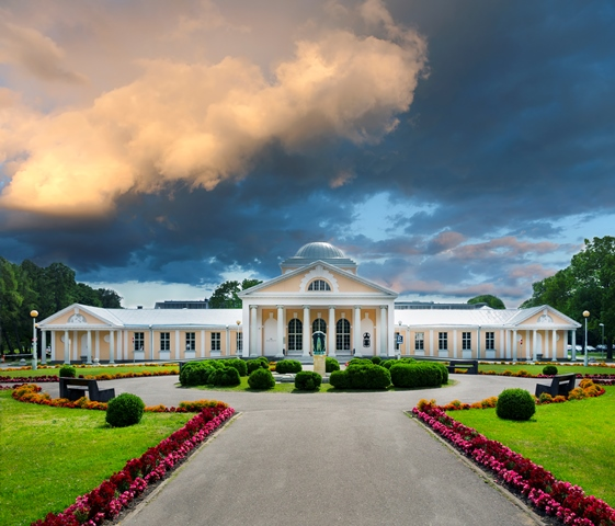 Stormy clouds over Hedon spa hotel in Pärnu, Estonia