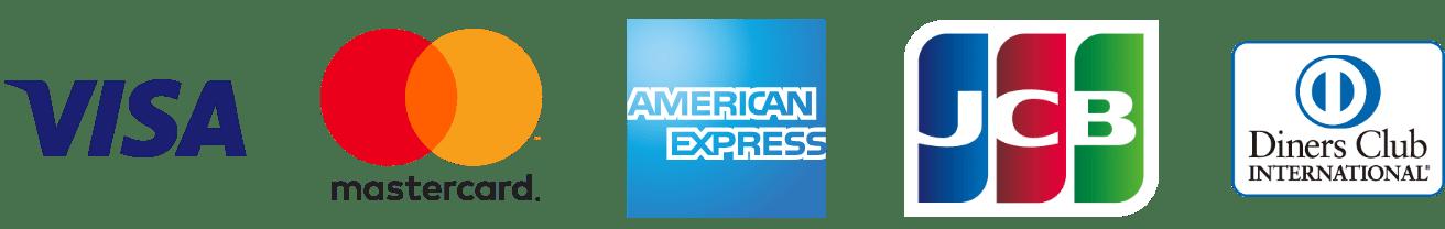 「VISA」「MasterCard」「American Express」「JCB」「 Diners Club」