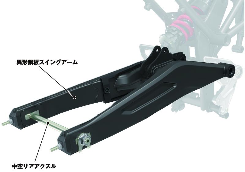 ホンダCB250R_異形鋼板スイングアーム、中空リアアクス