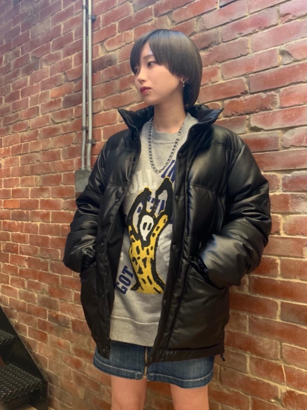 HYS-LOGO刺繍レザーダウンジャケット