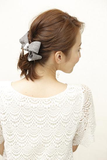 ルーズなまとめ髪onツイードリボン2