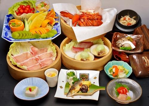 タラバ蟹とオマール海老・上州麦豚の蒸し料理コース♪朝食は人気の和洋中バイキング☆