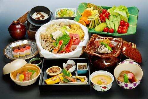 タラバ蟹・地鶏・旬菜の山海鍋と牛ロース一口陶板焼きコース♪朝食は人気の和洋中バイキング☆