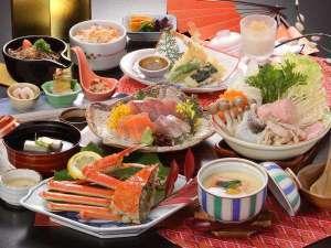 【お気楽コース冬の花心会席】蟹つみれ寄鍋&蟹と海老の天婦羅