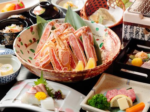 【旬彩会席 冬!】焼き蟹と特選和牛の溶岩石ステーキ会席