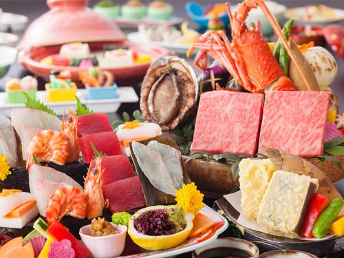 【レストランランクアップ】名物石焼で讃岐牛とロブスター又はアワビを食べ比べる贅沢会席【ご当地キャラ応援!】