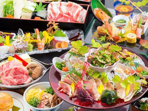 """◆さつま食会席◆ 三大郷土食材が大集合!『薩摩牛♪黒豚♪薩摩鶏♪』 今夜は """"贅沢☆食べ比べ♪"""""""
