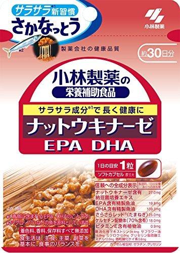 ・内容量:30錠 ・含有成分:ナットウキナーゼ含有納豆菌培養エキス 27mg、EPA含有精製魚油 19.8mg、DHA含有精製魚油 139.3mg、ビタミンE含有植物油 0.9mg ・1日あたりの値段:約39.4円