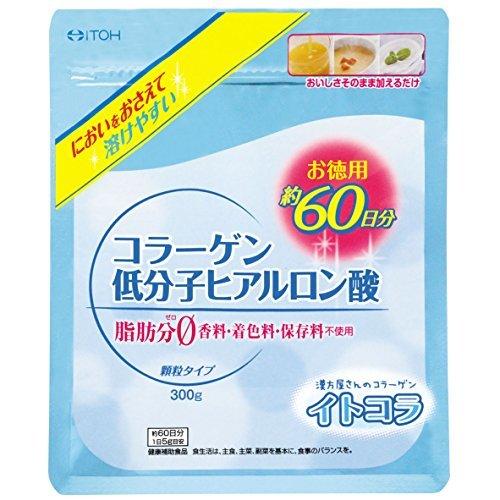 ・内容量:300g ・含有成分:コラーゲン4,995mg、ヒアルロン酸5mg ・1日あたりの値段:約27.2円