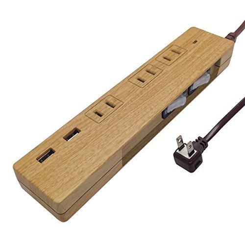・長さ:1.5m ・差込口:3口+USBポート2口 ・スイッチ:個別スイッチ(2カ所)