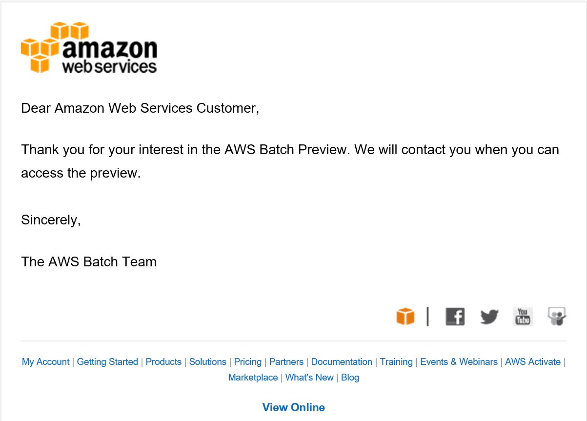 AWS Batch Preview 完了メール