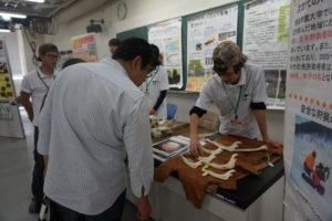 続いては環境共生学類のイベントの様子です。環境共生学類では、学生が主体となって研究室紹介を行ってくれました。イベント会場には野生動物の骨や毛皮、蛙などの両生類、爬虫類がたくさん!